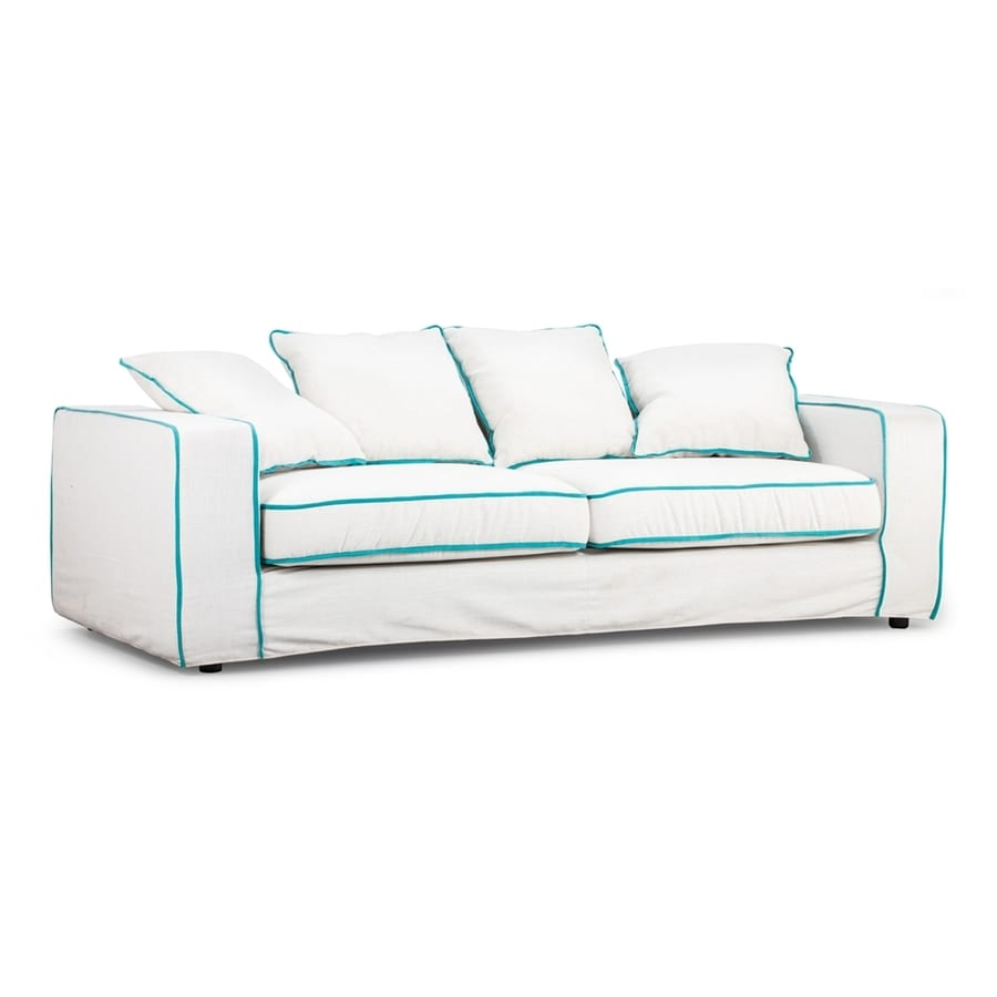 Zuo Modern Vasteras Natural/Aqua Linen Sofa