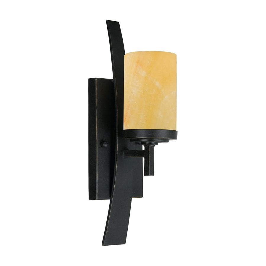 Quoizel Kyle 4.5-in W 1-Light Butterscotch Onyx Arm Wall Sconce