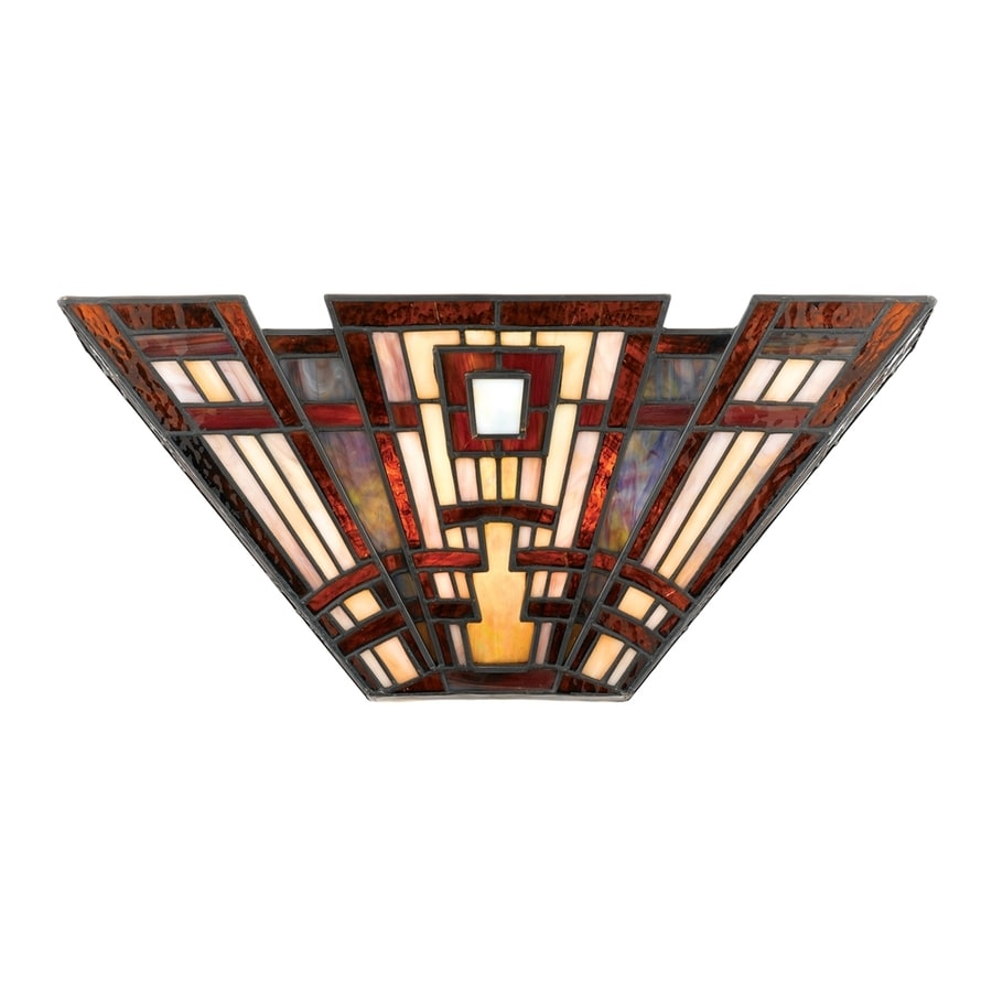 Quoizel Classic Craftsman 16.3-in W 1-Light Tiffany-style Pocket Wall Sconce
