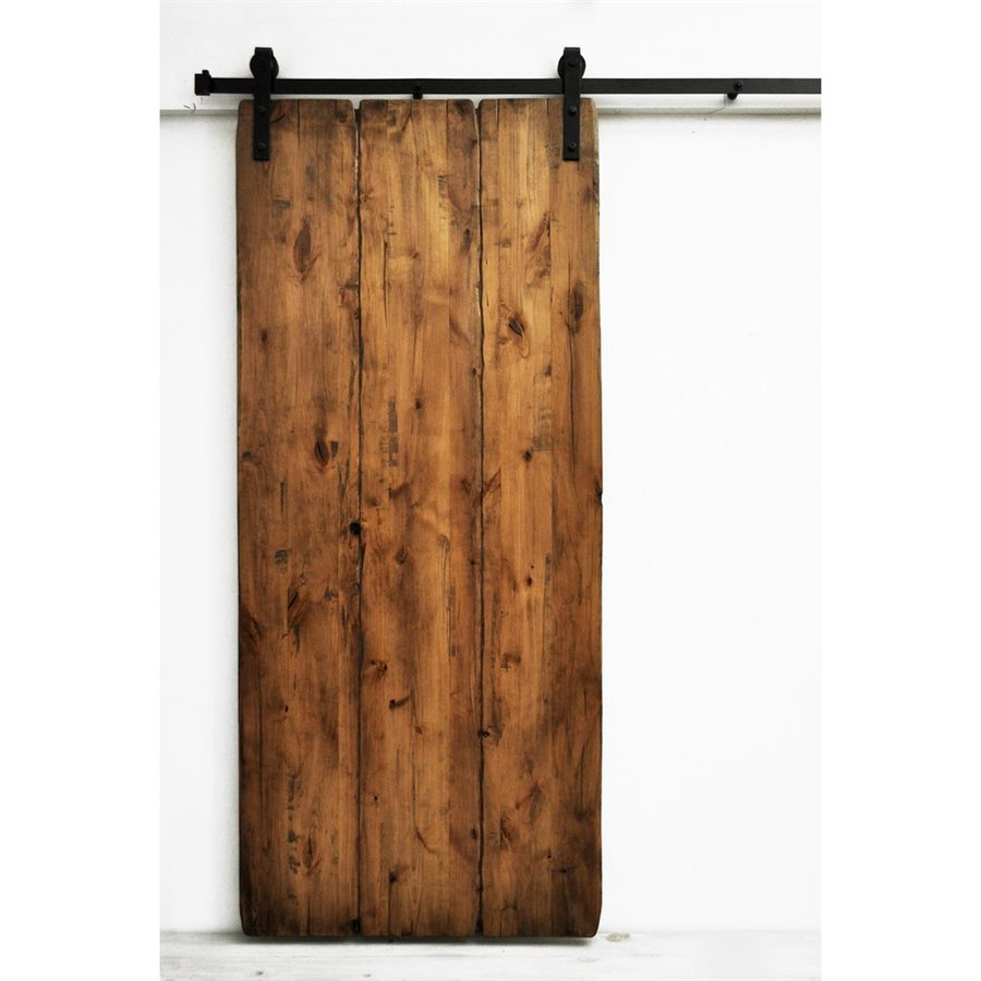 Dogberry Collections Tuscan Villa Stained Solid Core 1-Panel Plank Knotty Alder Barn Interior Door (Common: 36-in x 82-in; Actual: 36-in x 82-in)