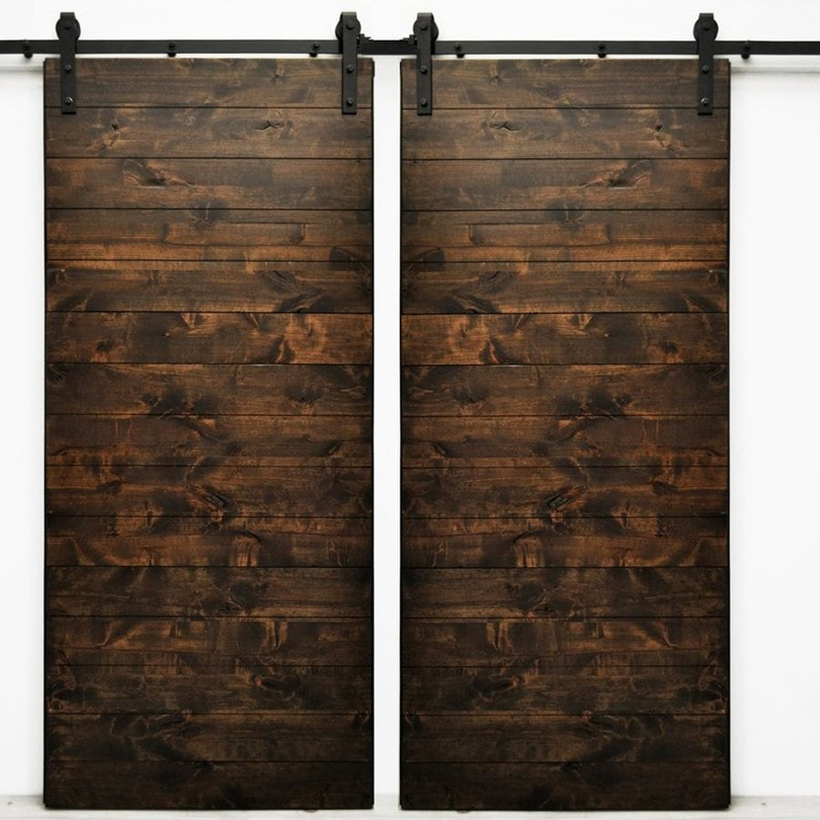 Dogberry Collections Latitude Set of 2 Stained Solid Core 1-Panel Plank Knotty Alder Barn Interior Doors (Common: 72-in x 82-in; Actual: 72-in x 82-in)