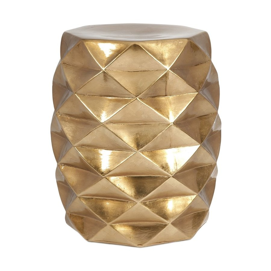 Shop Imax Worldwide IK Geometric 18-in Gold Ceramic Barrel Garden ...
