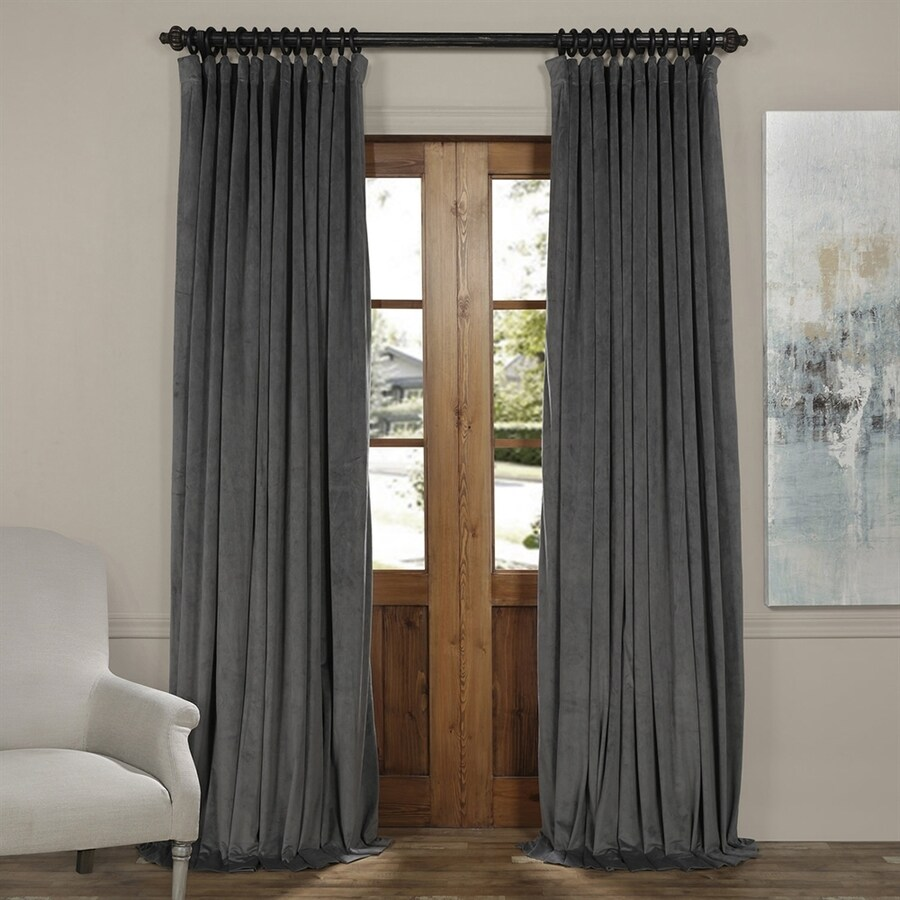 Exclusive Fabrics Furnishing Signature 108 In Natural Grey Polyester Rod Pocket Blackout Thermal Lined