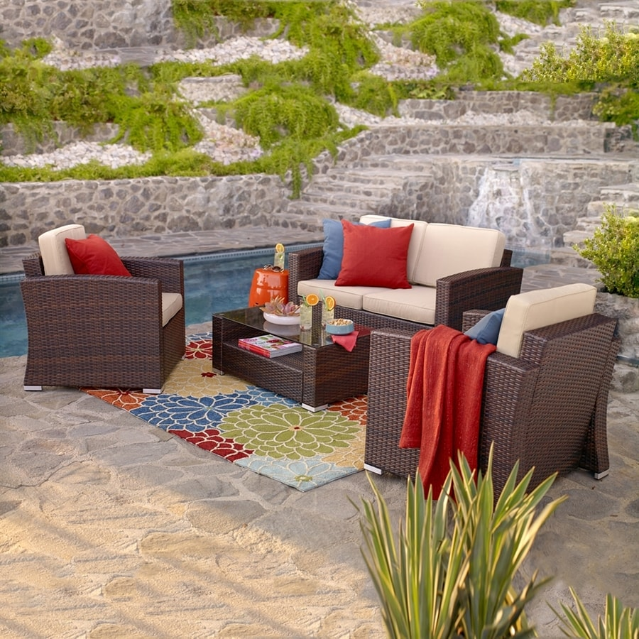 Attractive Thy Hom Nicollo 4 Piece Wicker Frame Patio Conversation Set With Beige  Cushions