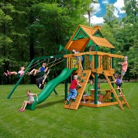 Gorilla Playsets Chateau Wood Playset With Swings