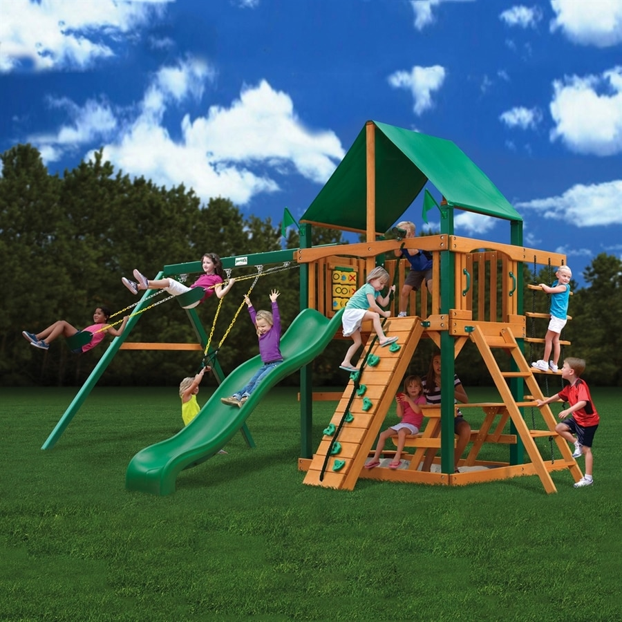 Shop Gorilla Playsets Chateau Wood Playset With Swings At