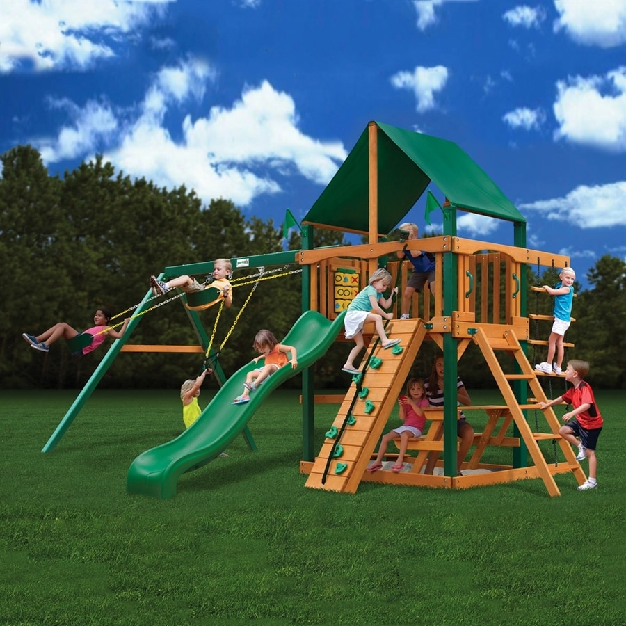 Shop gorilla playsets chateau wood playset with swings at for Gorilla playsets