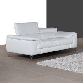 Ju0026M Furniture A973 Modern White Faux Leather Loveseat