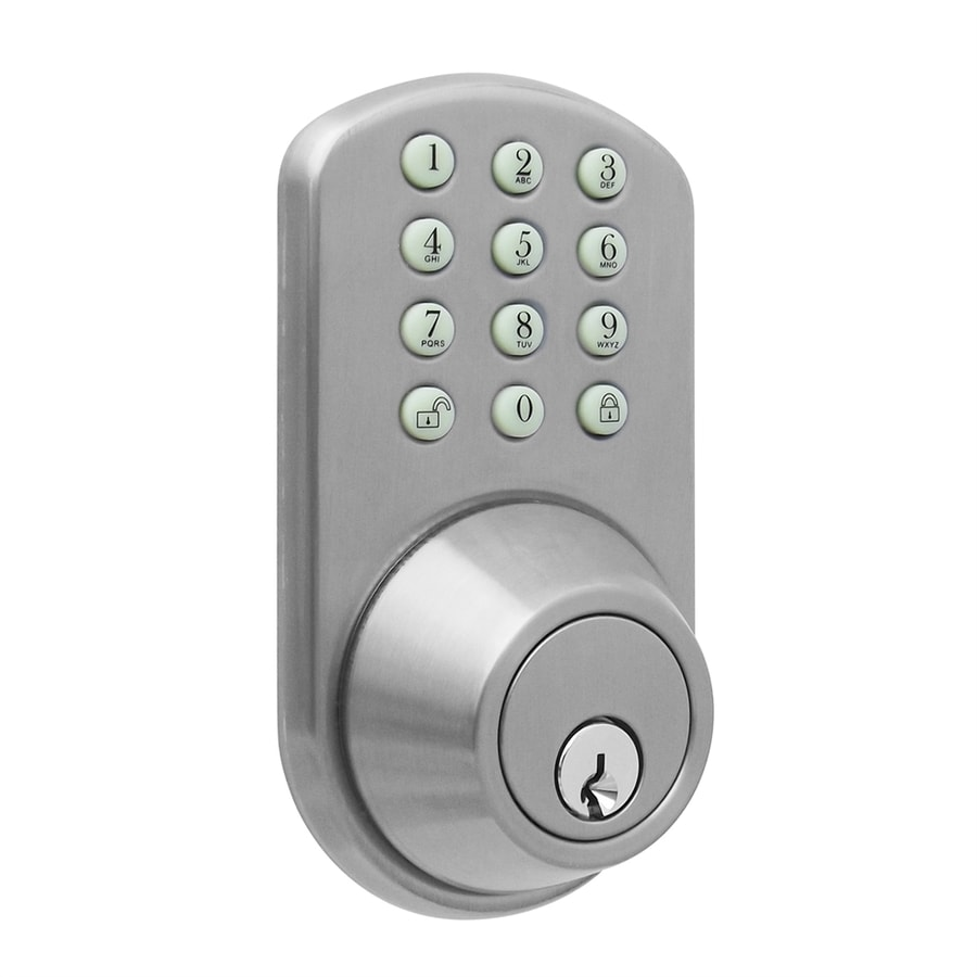shop milocks satin nickel single cylinder motorized electronic entry door deadbolt with keypad. Black Bedroom Furniture Sets. Home Design Ideas