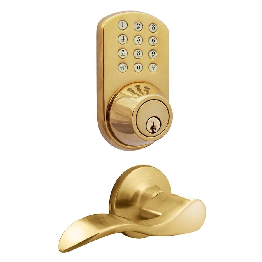 MiLocks Polished Brass Motorized Electronic Entry Door Handleset