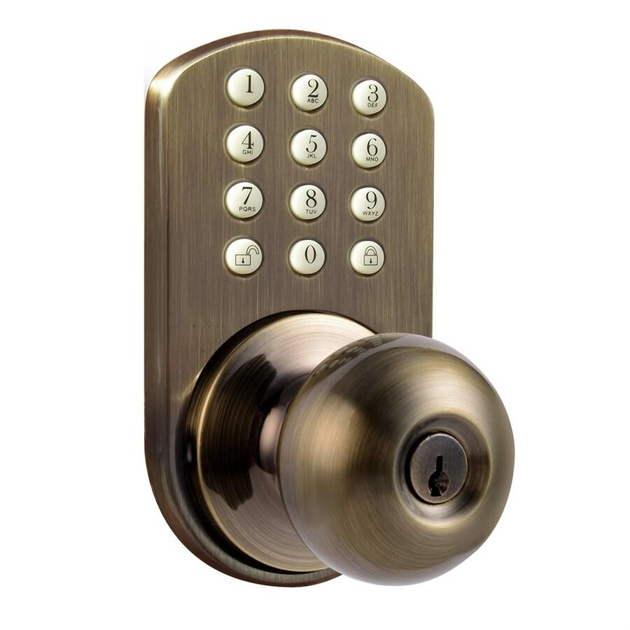 MiLocks Antique Brass Round Electronic Entry Door Knob