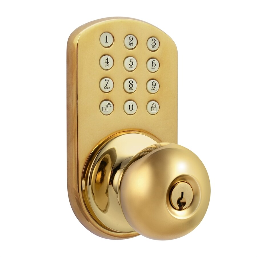 Shop MiLocks Polished Brass Round Electronic Entry Door Knob At