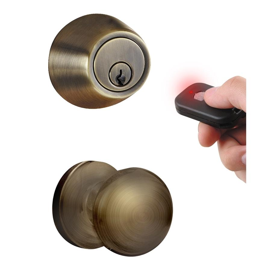 MiLocks Antique Brass Motorized Electronic Entry Door Handleset