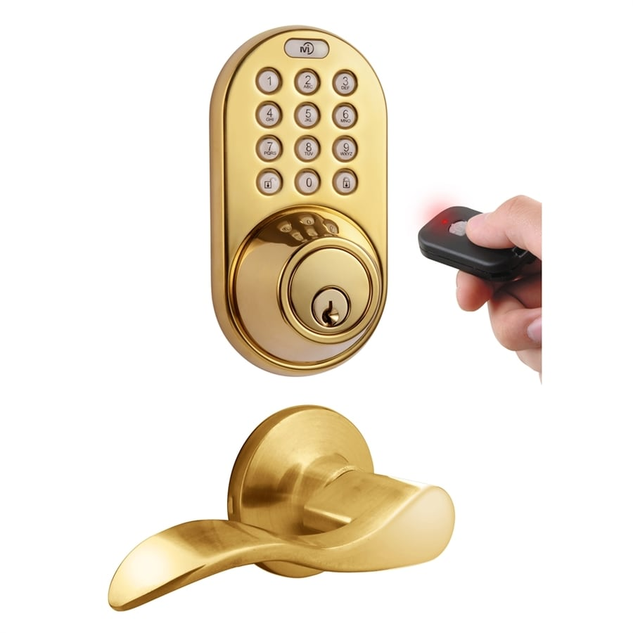 MiLocks Polished Brass Motorized Electronic Entry Door Handleset
