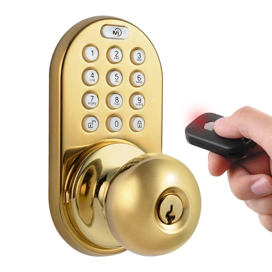 MiLocks Polished Brass Round Electronic Entry Door Knob