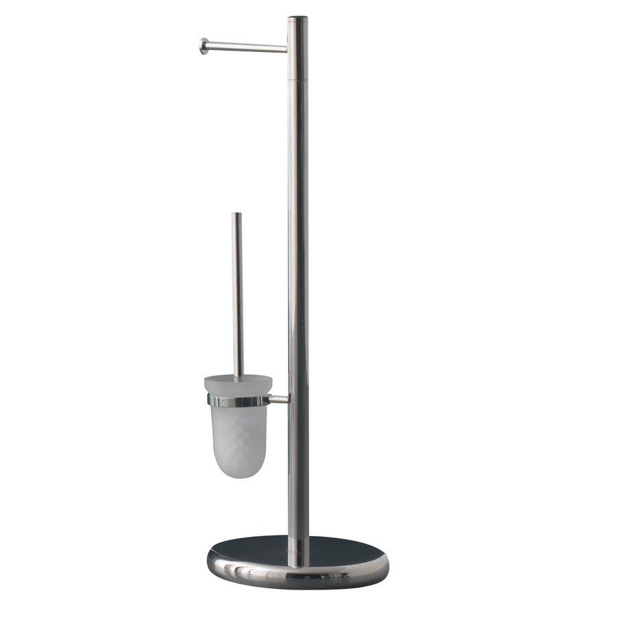 Shop nameeks tracy butler chrome metal toilet brush holder at for Bathroom butler toilet paper holder