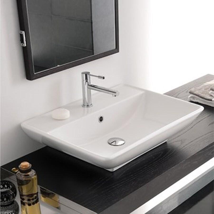 Nameeks Scarabeo Kylis White Vessel Rectangular Bathroom Sink with Overflow