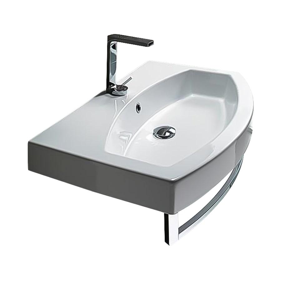 Nameeks Losagna White Ceramic Wall-Mount Rectangular Bathroom Sink with Overflow