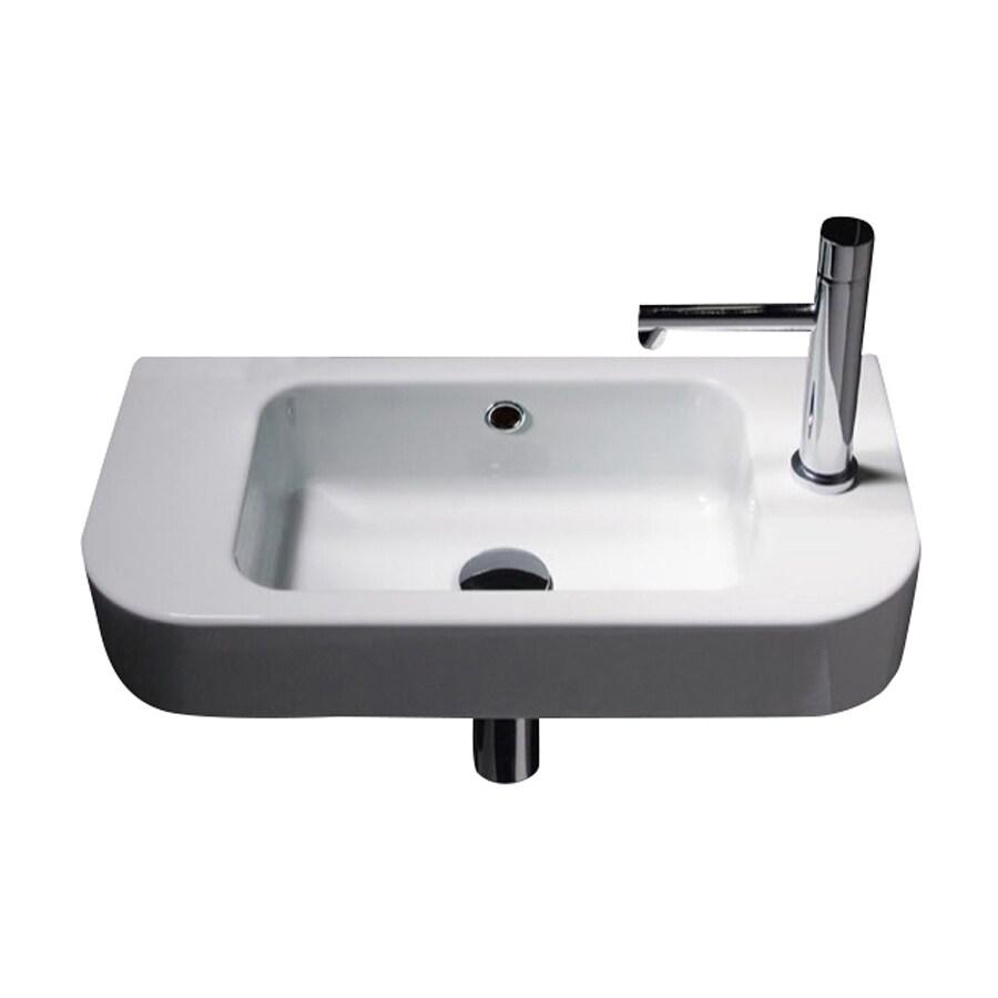 Nameeks Traccia White Ceramic Wall-Mount Rectangular Bathroom Sink with Overflow