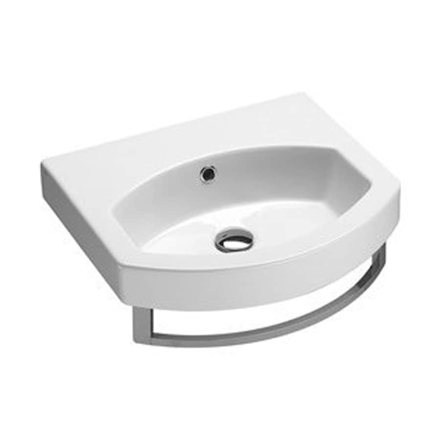 Nameeks Losagna White Ceramic Wall-Mount Rectangular Bathroom Sink with Overflow