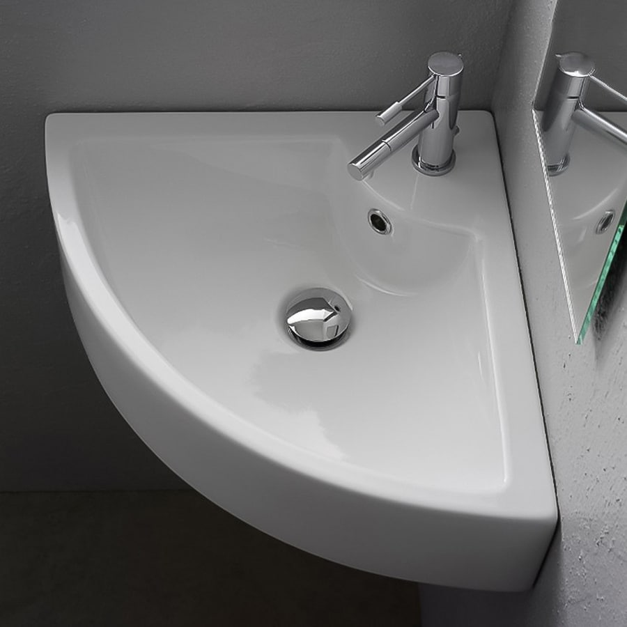Nameeks Scarabeo White Wall-Mount Quarter-Circle Bathroom Sink with Overflow