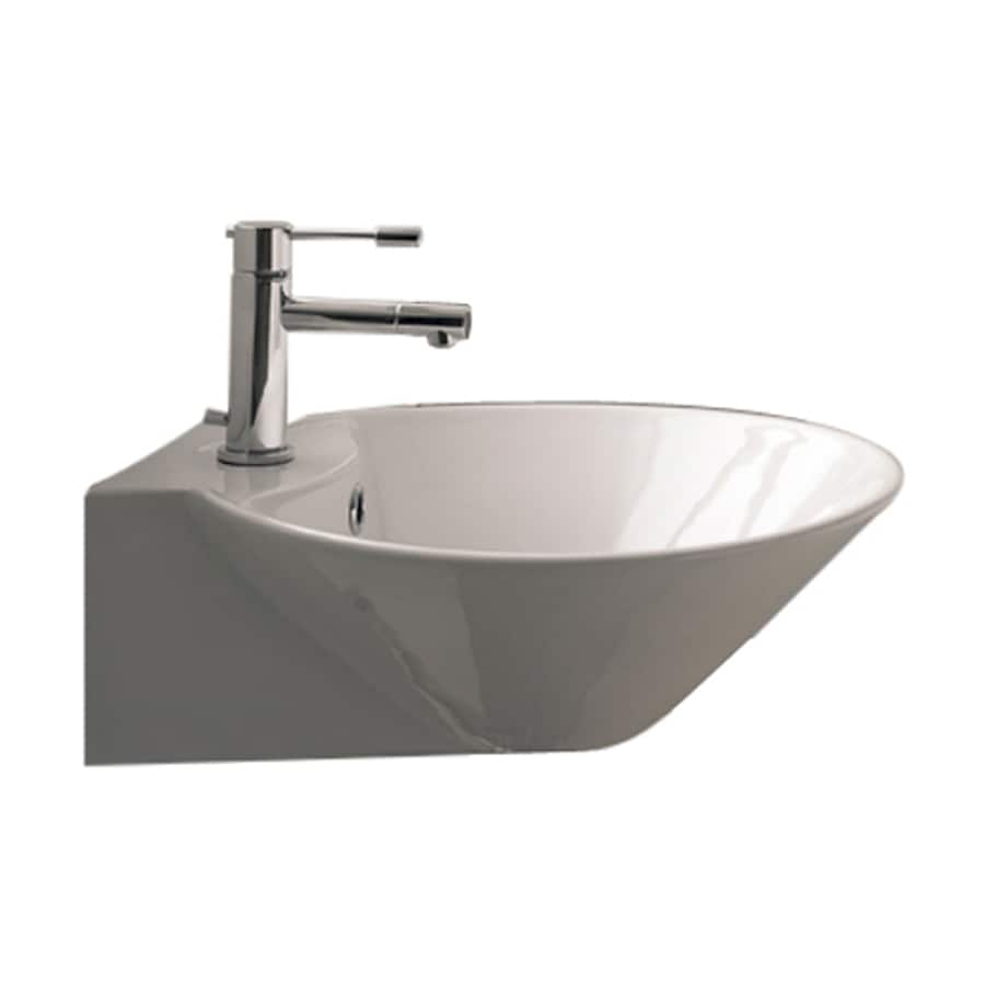 Nameeks Scarabeo Cono White Wall-Mount Round Bathroom Sink with Overflow