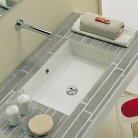 Nameeks Scarabeo Tech White Undermount Rectangular Bathroom Sink With Overflow