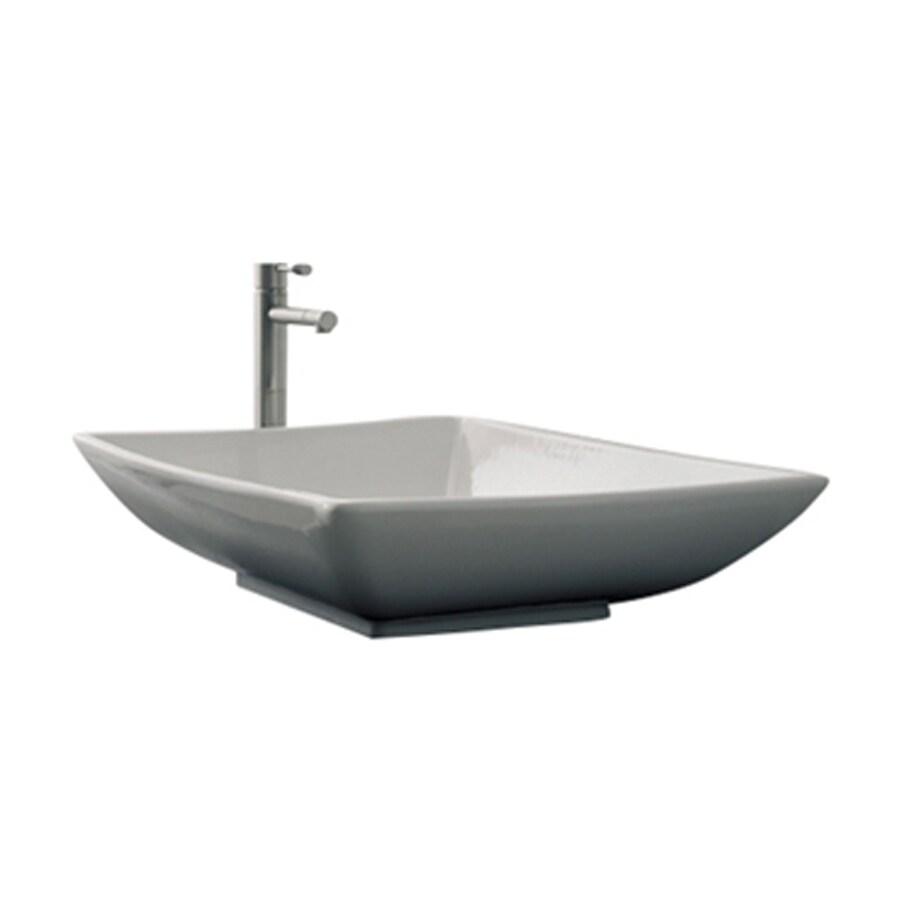 Nameeks Scarabeo Kylis White Vessel Square Bathroom Sink