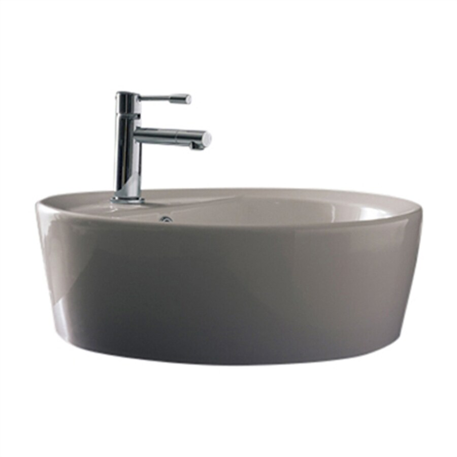 Nameeks Scarabeo Matty Tondo White Drop-in Round Bathroom Sink with Overflow