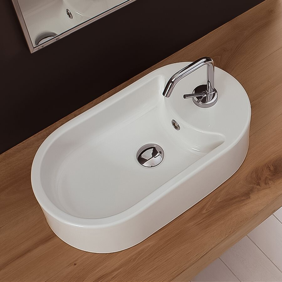 Nameeks Scarabeo White Vessel Oval Bathroom Sink with Overflow
