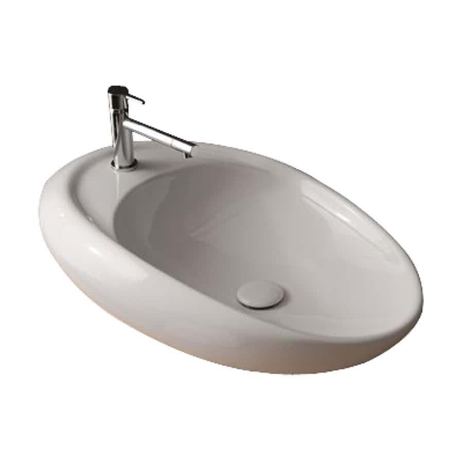 Nameeks Scarabeo Moai White Vessel Elliptical Bathroom Sink