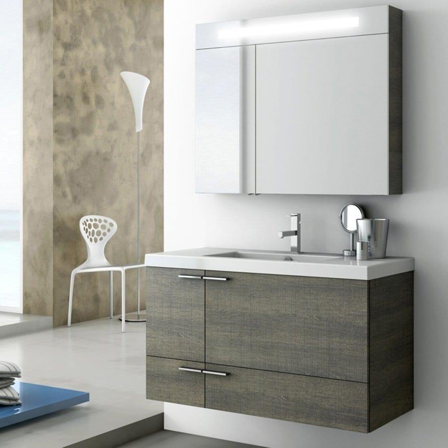 Nameeks New Space Grey Oak Senlis Integrated Single Sink Bathroom Vanity with Ceramic Top (Common: 39-in x 18-in; Actual: 39.4-in x 17.7-in)