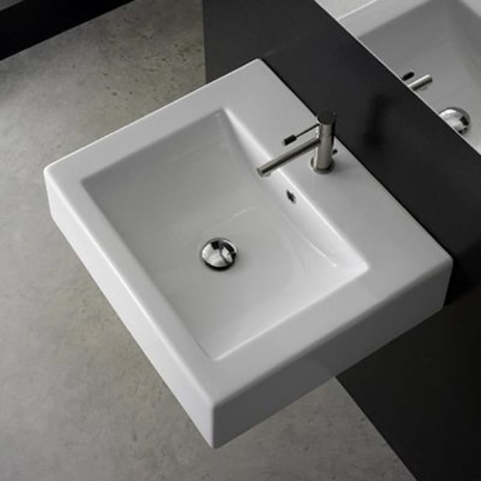 Nameeks Scarabeo White Wall Mount Rectangular Bathroom Sink With Overflow In The Sinks Department At Lowes Com