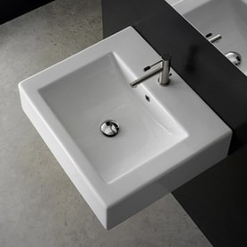 Nameeks Scarabeo White Wall Mount Rectangular Bathroom Sink With Overflow