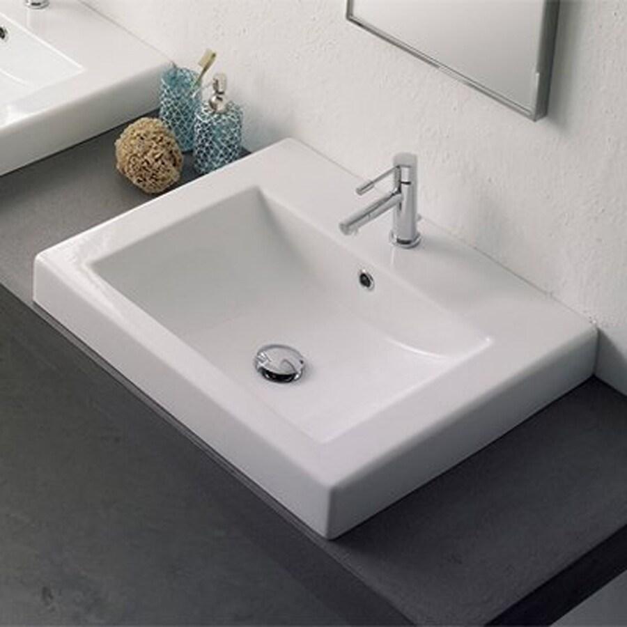 Nameeks Scarabeo White Drop-in Rectangular Bathroom Sink with Overflow