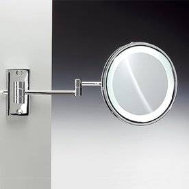 Nameeks Windisch Chrome Brass Magnifying Wall Mounted Vanity Mirror With Light