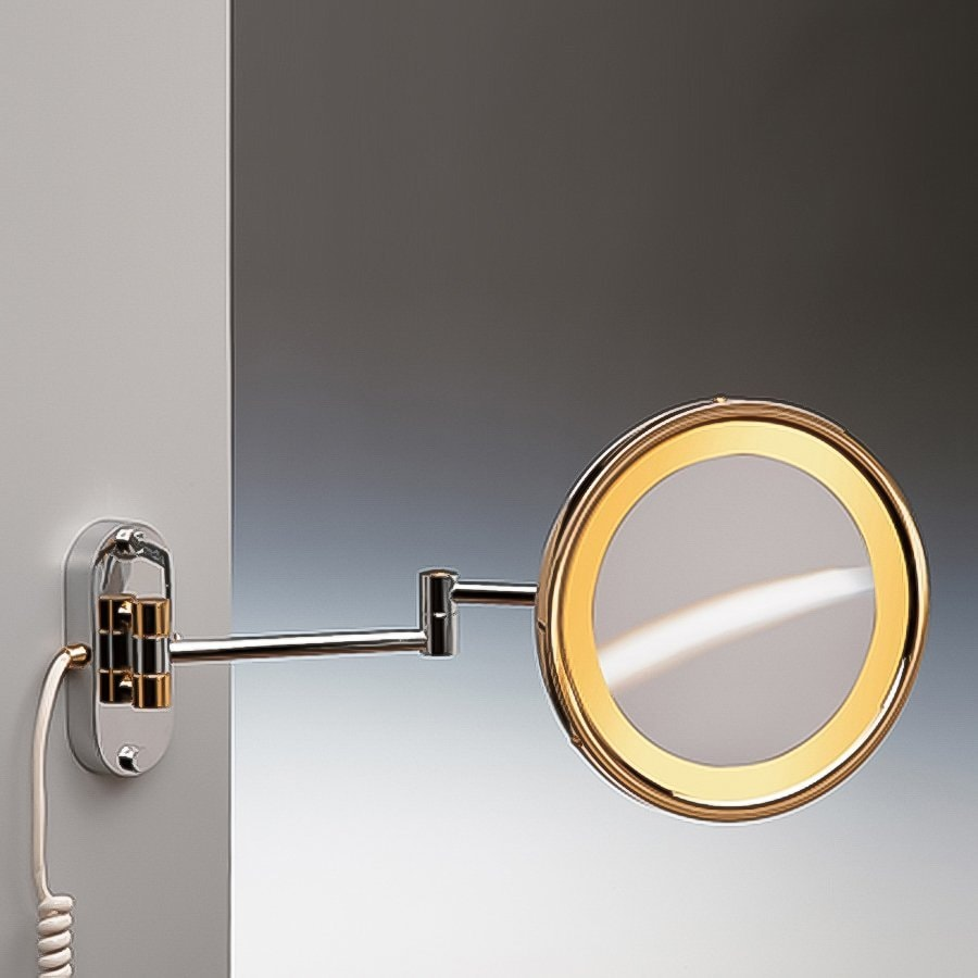 Shop Nameeks Windisch Gold Brass Magnifying Wall-Mounted Vanity Mirror with Light at Lowes.com