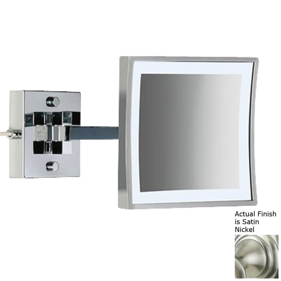 Nameeks Windisch Nickel Brass Magnifying Wall-Mounted Vanity Mirror with Light