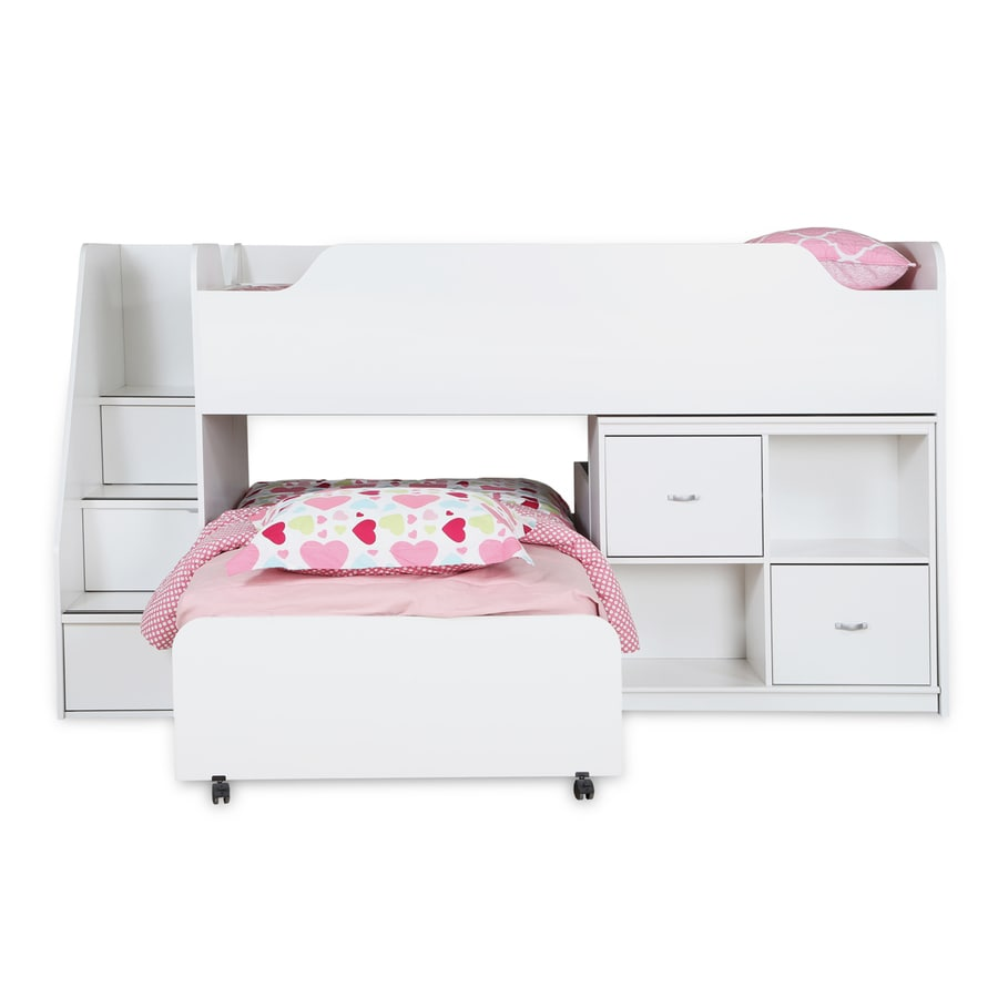 South Shore Furniture Mobby Pure White Twin Over Twin Bunk Bed