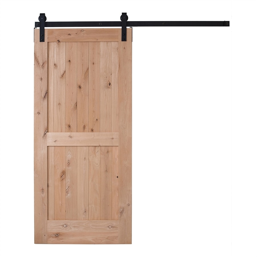 Ironwood Unfinished 2-Panel Square Knotty Alder Barn Interior Door (Common: 36-in x 84-in; Actual: 36-in x 84-in)