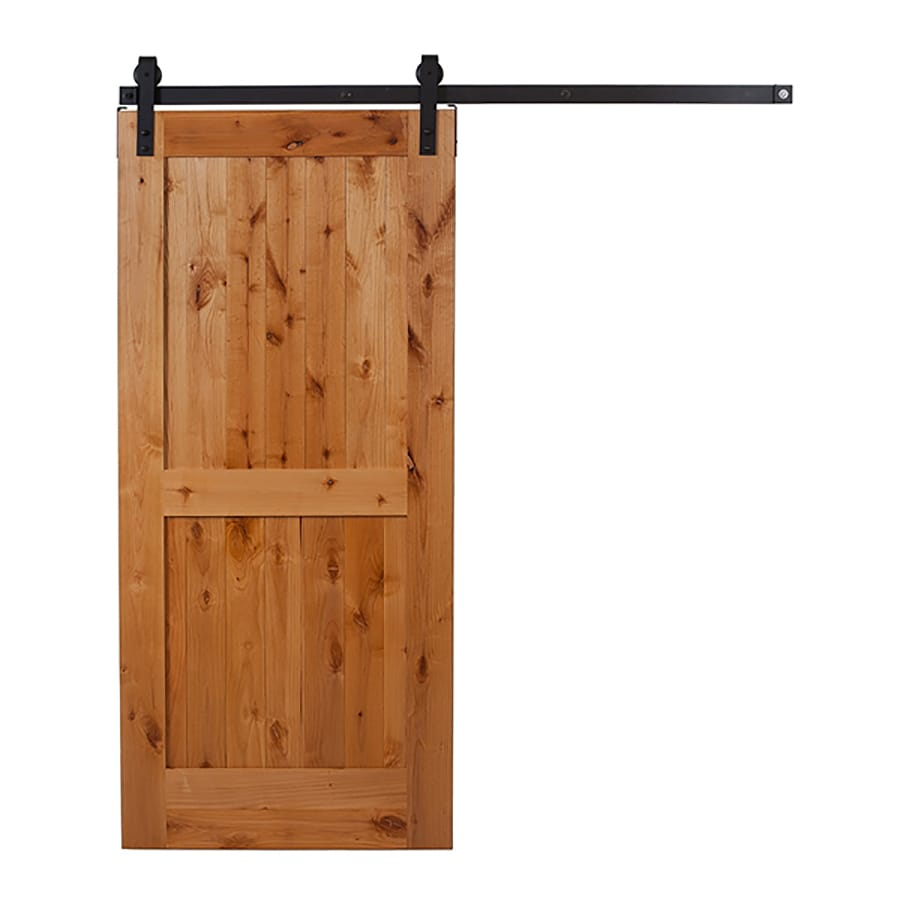 Ironwood Clear Coat Prefinished 2 Panel Square Wood Knotty Alder Barn Door With Hardware Kit