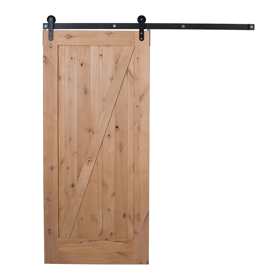 Ironwood Unfinished Z Frame Wood Knotty Alder Barn Door With Hardware Kit  (Common: