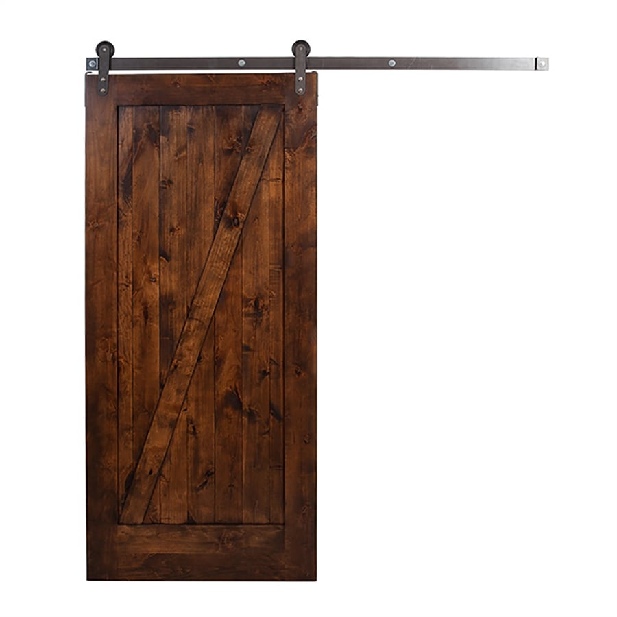 Ironwood Stained Knotty Alder Barn Interior Door with Hardware (Common: 36-in x 84-in; Actual: 36-in x 84-in)