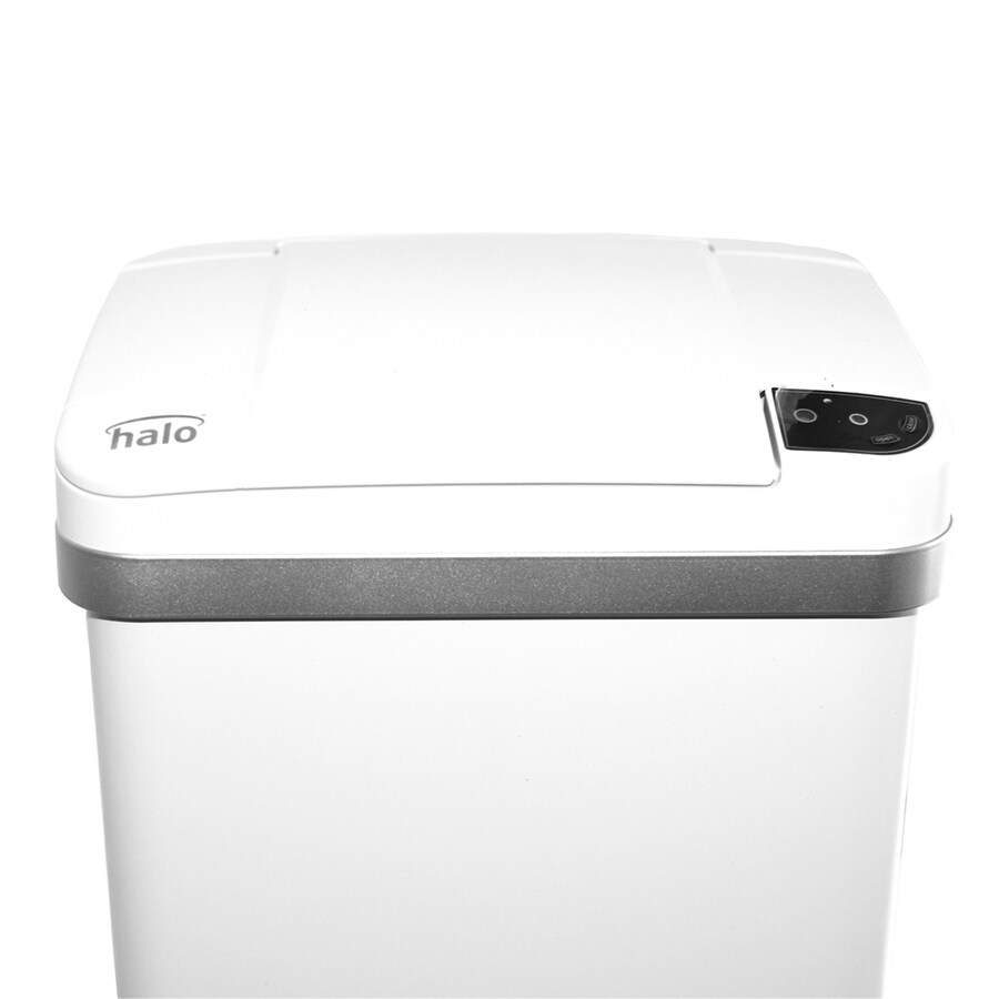 Myhalo 2.5-Gallon Pearl White Steel Touchless Trash Can with Lid