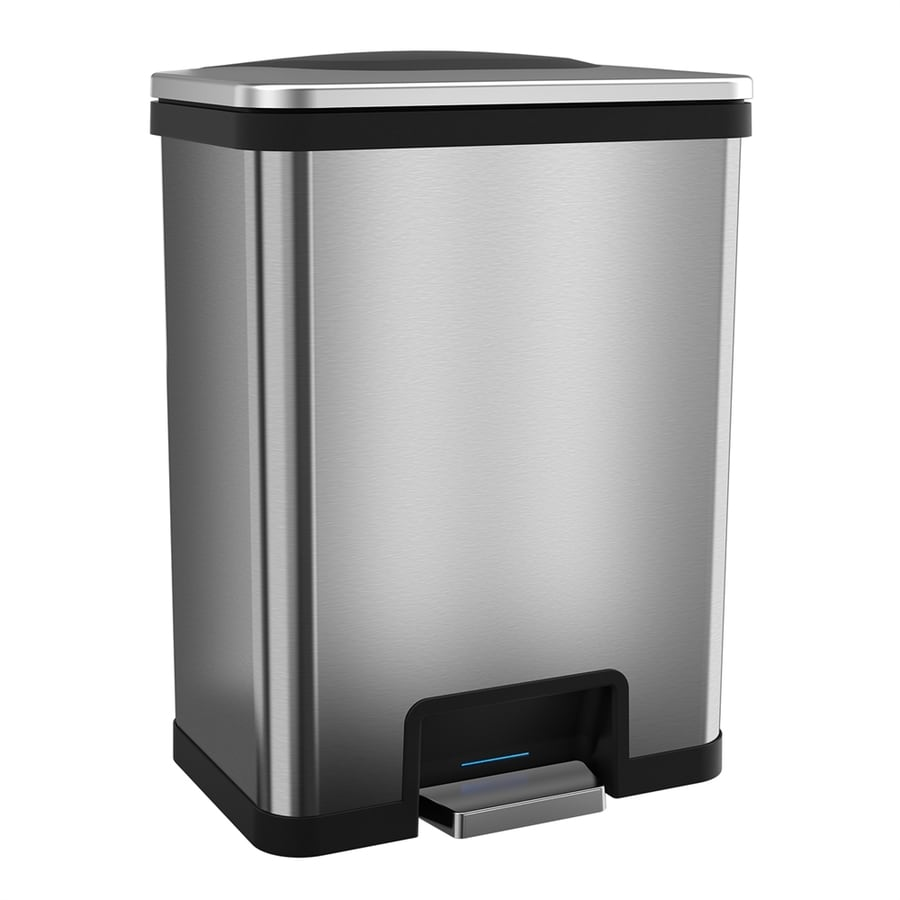 Myhalo 13-Gallon Stainless Steel/Black Steel Trash Can with Lid