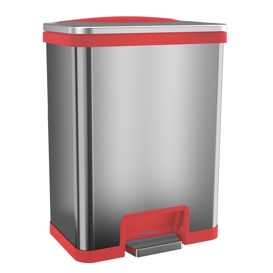 Myhalo 13-Gallon Stainless Steel/Red Steel Trash Can with Lid