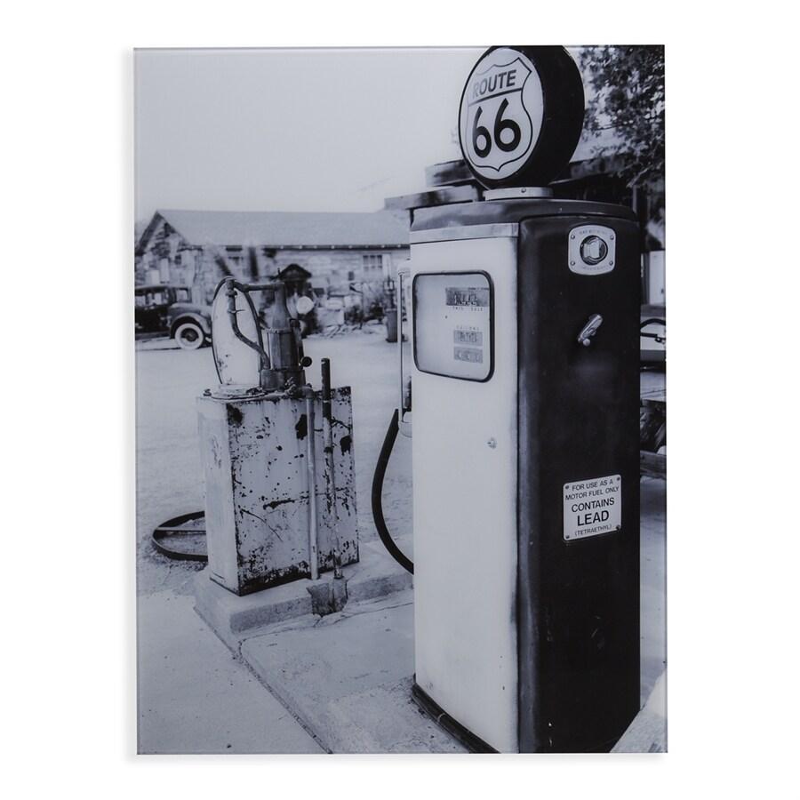 Boston Loft Furnishings 1-Piece 24-in W x 32-in H Frameless Glass Vintage Gas Station Print Wall Art