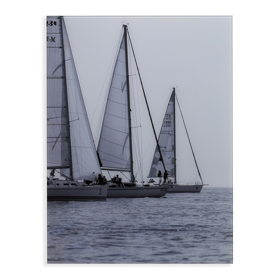 Boston Loft Furnishings 1-Piece 24-in W x 32-in H Frameless Glass Regatta Sails Print Wall Art