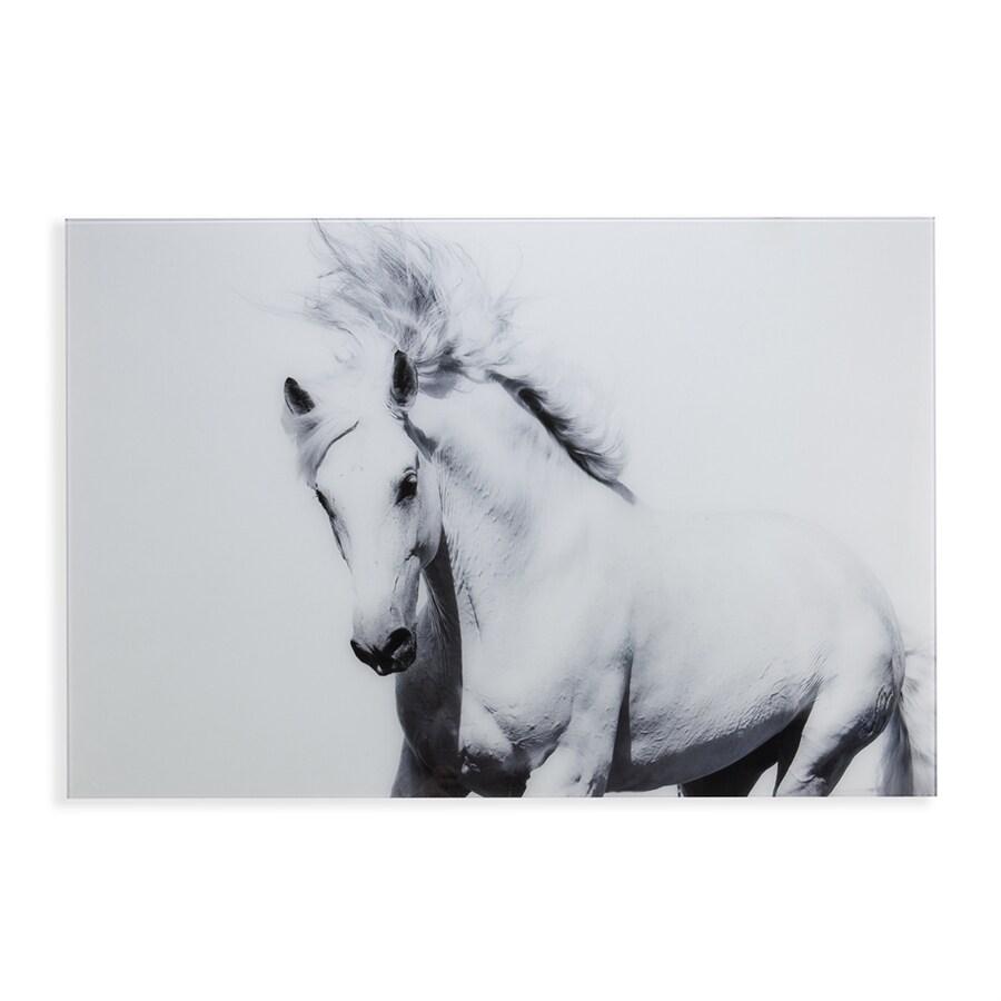 Boston Loft Furnishings 1-Piece 47-in W x 32-in H Glass Arabian Horse Print Wall Art