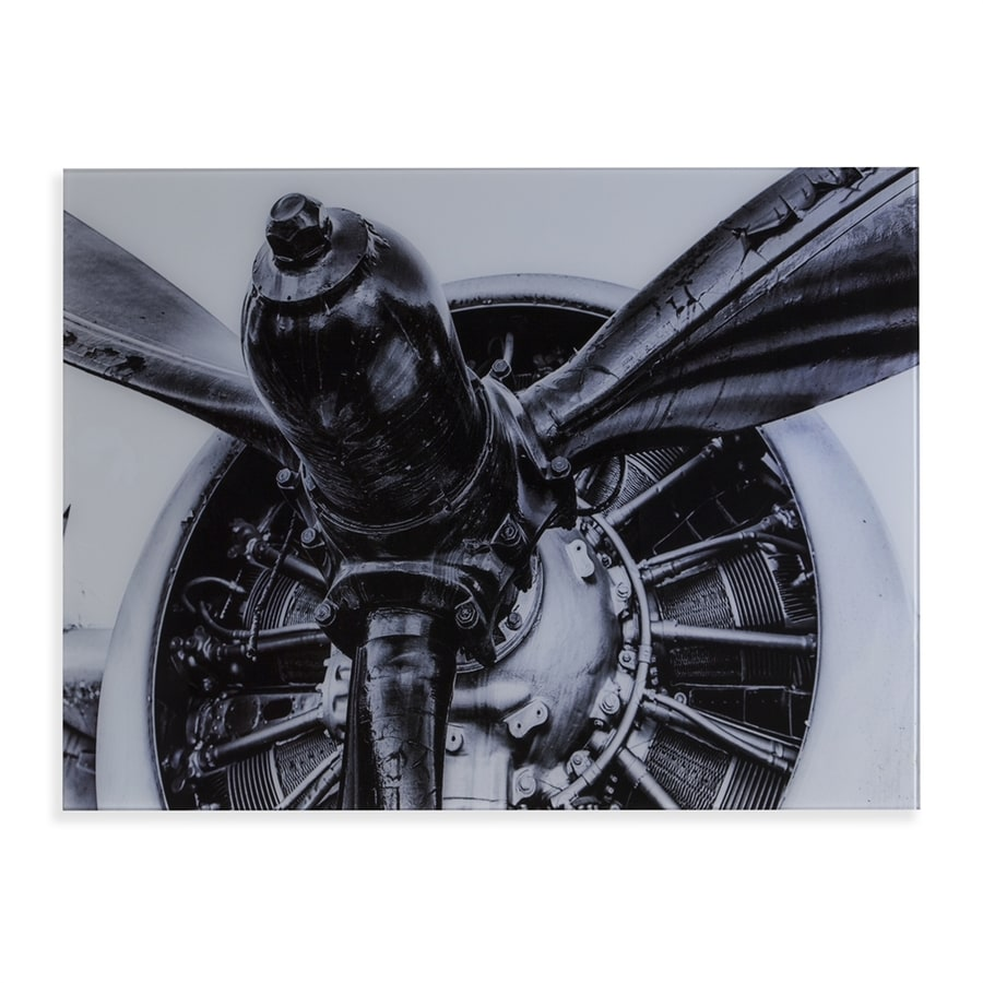 Boston Loft Furnishings Old Airplane Propeller 32-in W x 24-in H Frameless Glass Print Wall Art